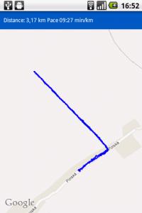 Mapa se záznamem trasy