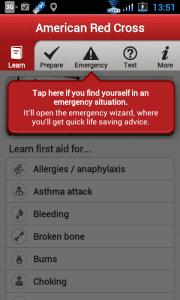 Šipka ukazuje na sekci průvodců pro nejrůznější zdraví nebo život ohrožující situace