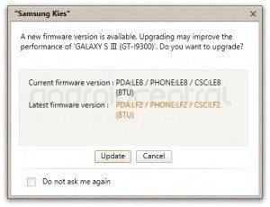 První aktualizace firmwaru pro Samsung Galaxy S III - LF2