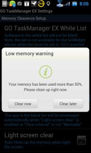 Upozornění, jestliže velikost volné operační paměti klesne pod nastavenou hodnotu