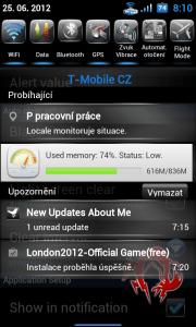 Zobrazení obsazení RAM v notifikační liště