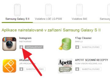 Kliknutím na ikonu koše aplikaci ze zařízení odinstalujete