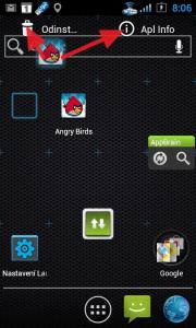 Tažením ikony můžete odinstalovat aplikaci.