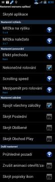 Možnosti nastavení seznamu aplikací.