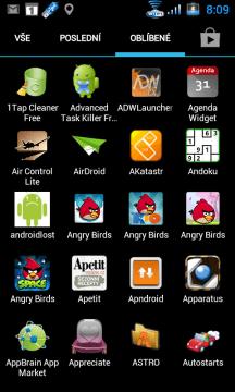 Seznam aplikací, sekce Oblíbené