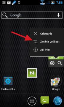 Holo Launcher umí měnit velikost widgetů