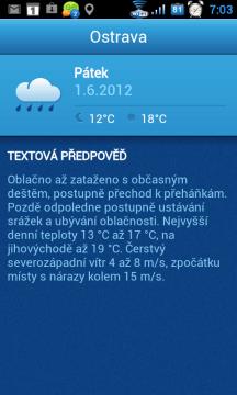 Textová předpověď je, jako celá aplikace, v češtině