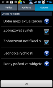 Další nastavení widgetu