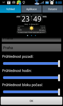 Je možné nastavit průhlednost jednotlivých prvků widgetu