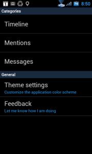 Nastavení aplikace Tweedle