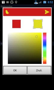Barvy lišty lze zvolit dle libosti volbou z barevné palety