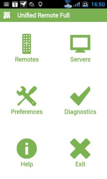 Hlavní obrazovka aplikace čítá šest ikon