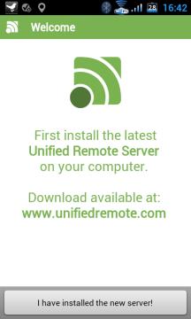 Po prvním spuštění aplikace upozorní, že je nutné nainstalovat server na počítač