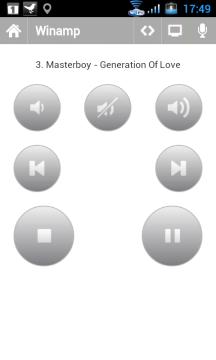 Ovládání hudebního přehrávače WinAmp