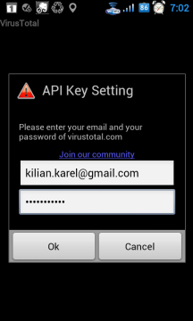 Abyste mohli odesílat neznámé soubory, musíte mít účet na VirusTotal