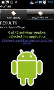 Výsledek testu: aplikace Android Agenda Widget je v pořádku