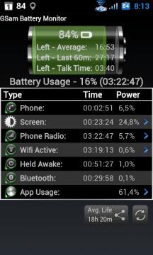 Hlavní obrazovka GSam Battery Monitor