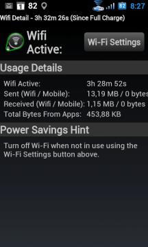 Údaje o tom, kolik času byla Wi-Fi zapnutá a kolik bylo přeneseno dat.