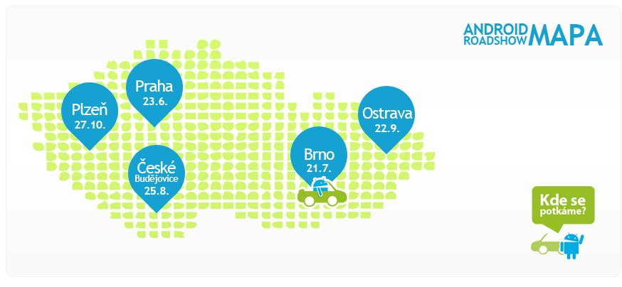 mapa Android RoadShow 2012 Brno