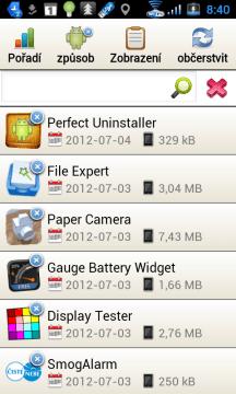 Seznam programů seřazený podle data instalace/poslední aktualizace.