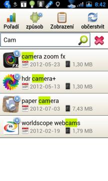 Vyhledávací pole funguje jako aktivní filtr.