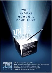 Pozvánka na Samsung Unpacked 2012