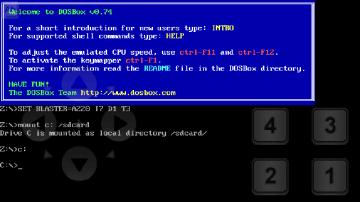 Úvodní obrazovka aDosBoxu
