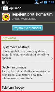 Kontrola oprávnění při instalaci v telefonu