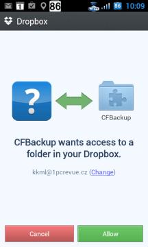 Při záloze do cloudu budete požádáni o přístup