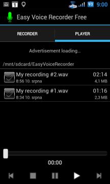V sekci Player najdete pořízené nahrávky
