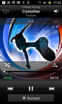 Hudební přehrávač během přehrávání písničky