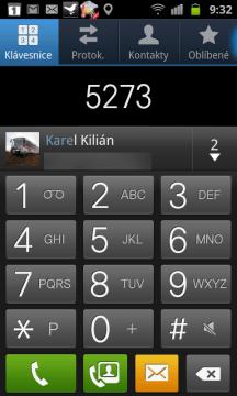 Na záložce Klávesnice můžete zadávat telefonní čísla i hledat