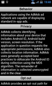 ehavior popisuje chování daného reklamního systému, v sekci Privacy se pak dočtete, čím pro vás nebo váš telefon může být použitý reklamní systém nebezpečný.