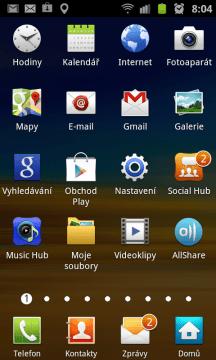 Také seznam aplikací se liší od klasického provedení