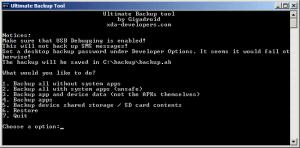 Ultimate Backup Tool běží v textovém režimu