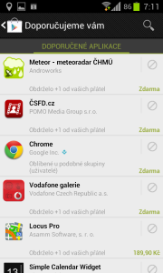 Seznam doporučených aplikací