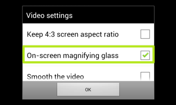 Aktivujte zatržítko On-screen magnifying glass
