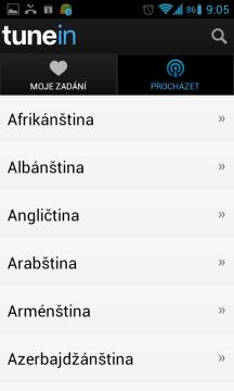 Stanici můžete vybrat podle jazyka, ve kterém vysílá