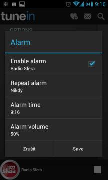 Aktuální stanici můžete nastavit jako budík