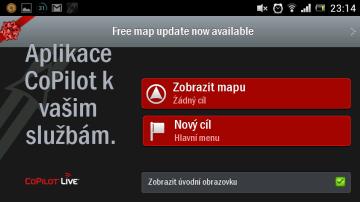 Úvodní obrazovka navigace