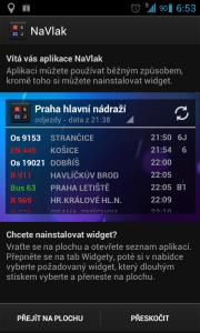 Aplikace při prvním spuštění nabídne vytvoření widgetu