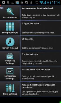Základní nabídka aplikace IntelliScreen je rozčleněna do šesti kategorií