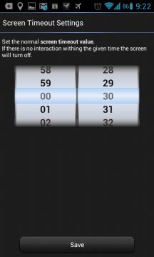 Sekce Screen Timeout dovoluje nastavit vlastní interval pro zhasínání obrazovky