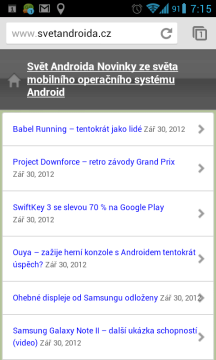 Prohlížeč Chrome pro Android