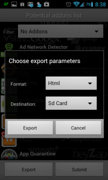 Seznamy lze exportovat ve formátech JSON a HTML