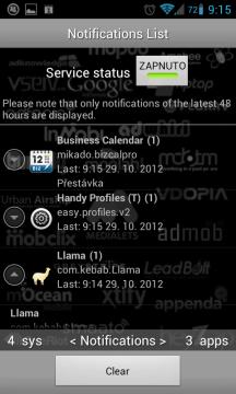 Monitor notifikací ukáže, které aplikace vstoupily do notifikační lišty