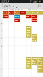 Kalendář Google: týdenní pohled
