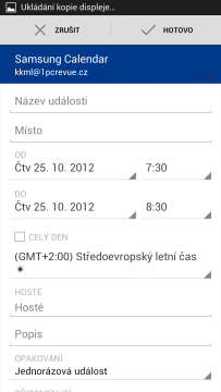 Kalendář Google: přidání nové schůzky