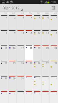 Kalendář Google: měsíční pohled
