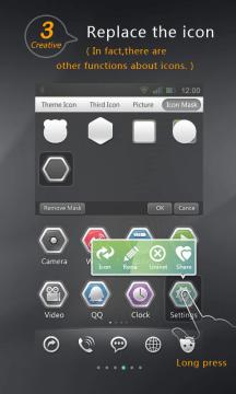 Dlouhým podržením ikony vyvoláte nabídku funkcí